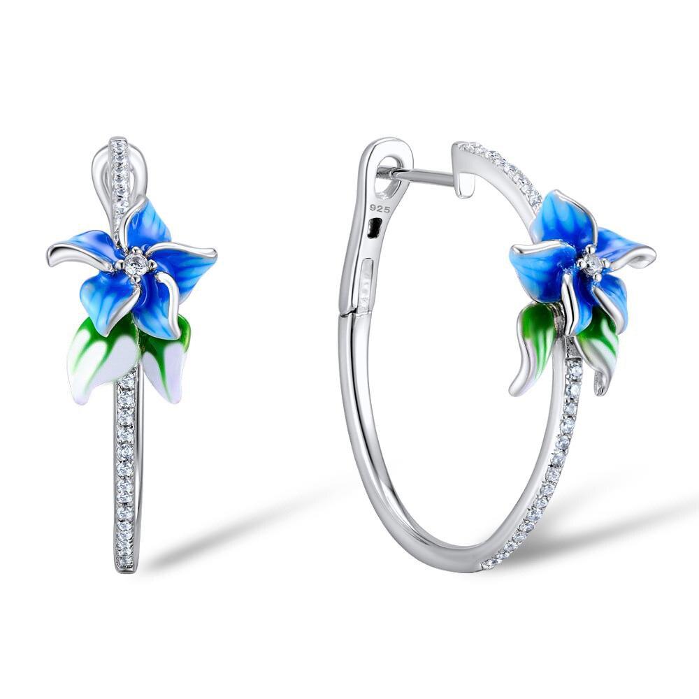 2020 Fashion Hoop Earrings For Women Rhinestone Pave Round Earring Blue Flower Elegant Silver Color Loop Earrings Jewelry D5M528