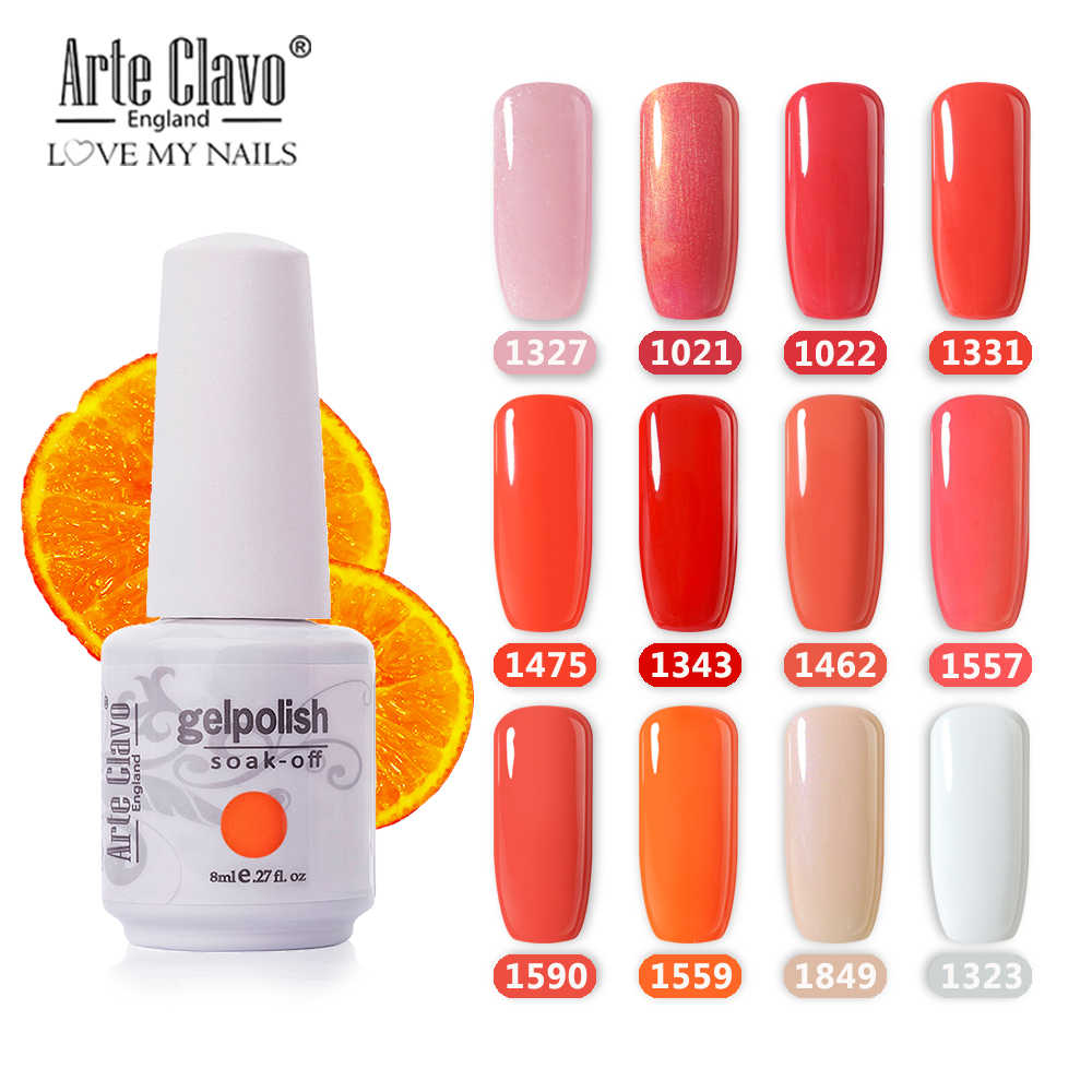 Arte Clavoเจลฐาน8Mlสีส้มชุดGellackเคลือบเงาเล็บLEDเล็บเจลสีเล็บDIY glitterเล็บเจล