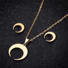 Goth Necklace Set Moon Pendant Necklace Gold Color Half Moon Necklace Jewelry Horn Chain Stainless Steel Trendy Party for Women handmade dreamy moon pendant necklace creative hand woven life tree gradient blue bumpy moon necklace for women birthday gifts