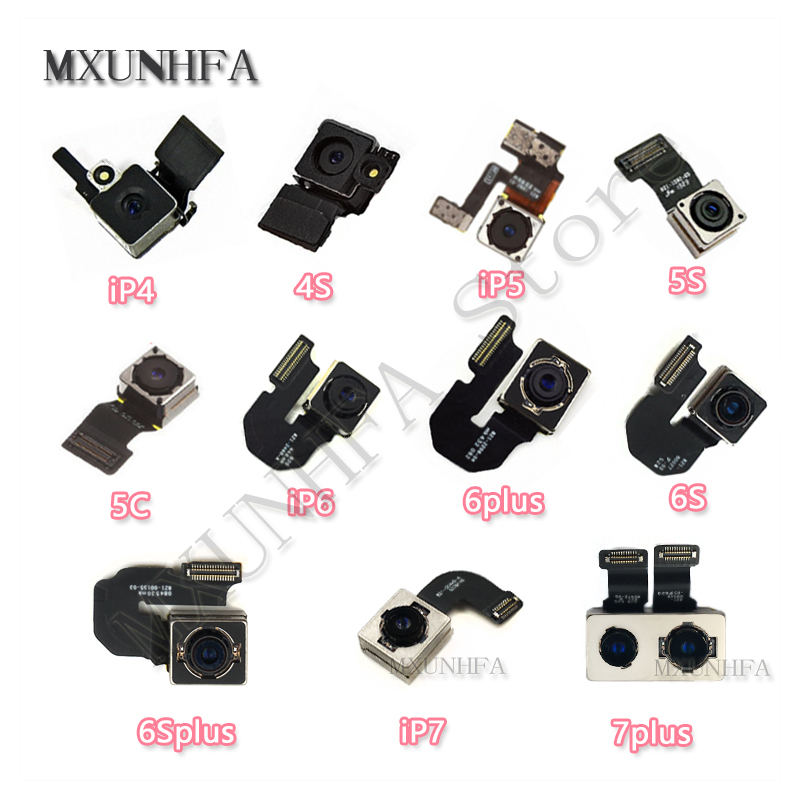 Main Back Camera For IPhone 4 4S 5 5s 5c Se 6 6plus 6S 7 8 Plus X Rear Camera With Flex Cable Facing Tested Replacement Parts