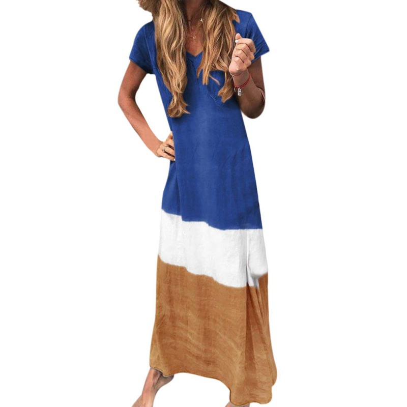 Women Casual Short Sleeve V Neck Dress 2019 Loose Fashion Color Matching Irregular Dress Female Cotton Linen Long Dresses in Dresses from Women 39 s Clothing