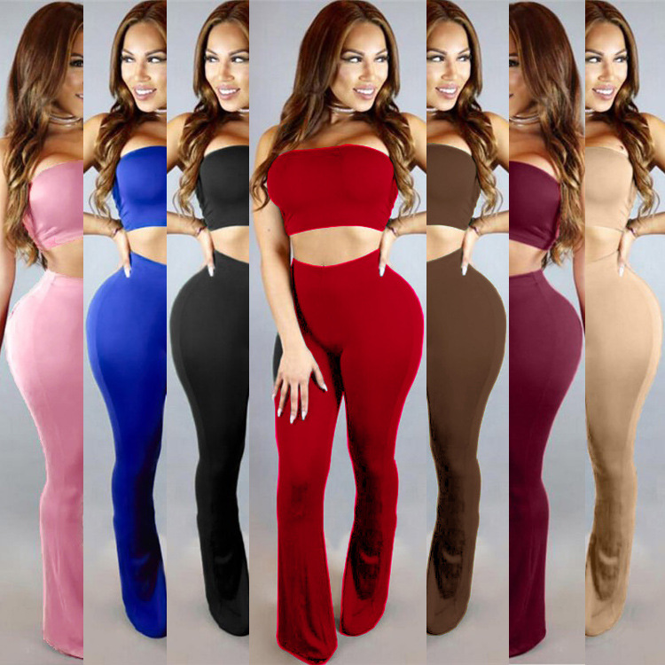 Women's Stretch, Tight-fitting Sexy Night-field Party Two-piece Elegant Luxurious Sexy Dress, Night Club And Evening Pants