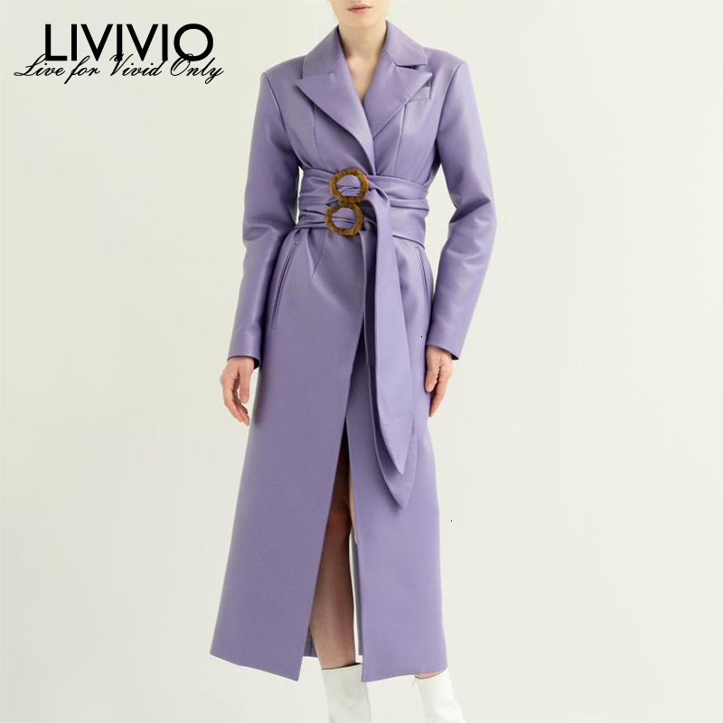 [LIVIVIO] Elegant PU   Leather   Women's Coats Notched Collar Long Sleeve High Waist With Belt Female 2019 Autumn Fashion Clothing