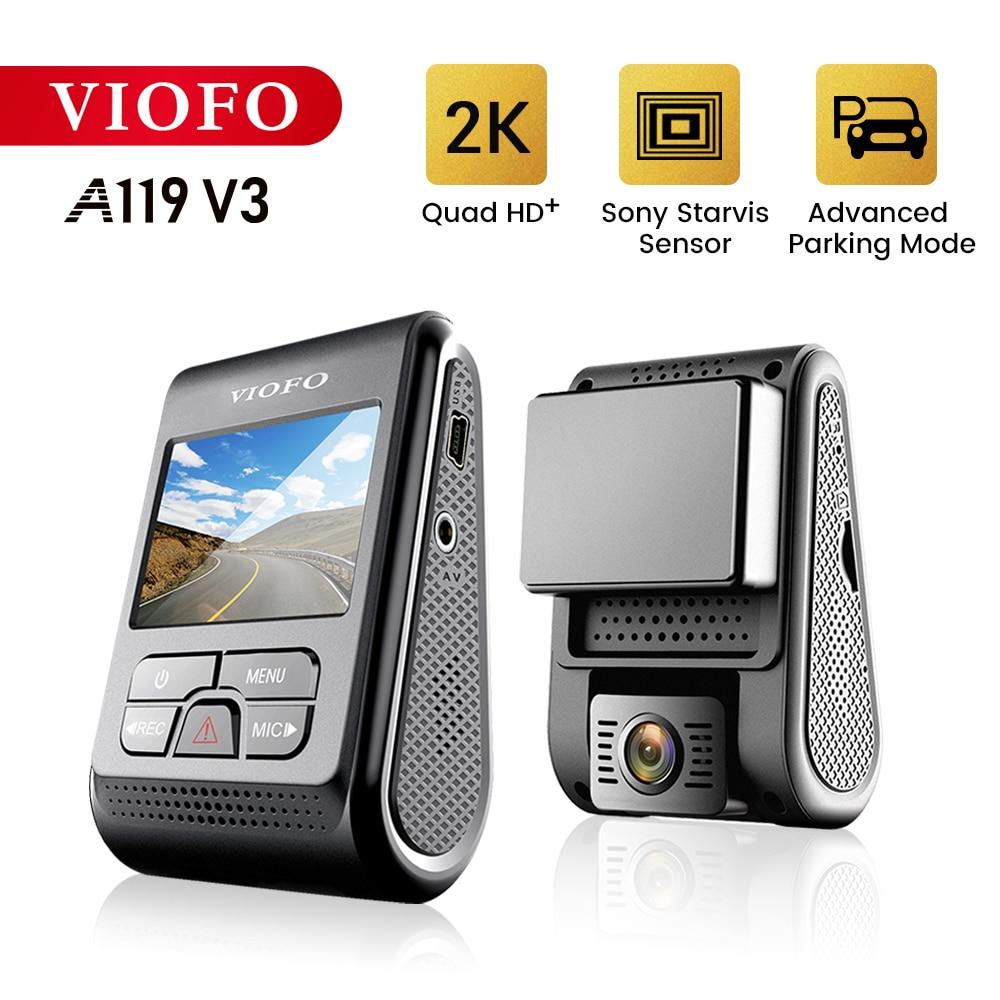 Viofo a119 v3 2 k 60fps carro traço cam super visão noturna quad hd 2560*1440 p dvr carro com modo de estacionamento g-sensor gps opcional