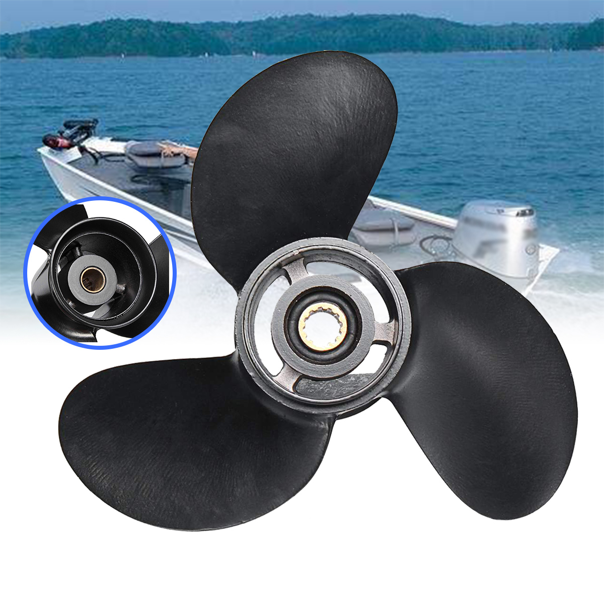 8-9.8HP Aluminum Alloy 3 Blades 3B2W64517-1 8.5X9 Outboard Propeller Boat For Tohatsu Nissan-Mercury Black 12 Spline Tooths