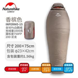 Image 5 - Naturehike 2019 20D Winter Thicken Mummy Goose Down Sleeping Bag Super Keep Warm 750FP Comfort Restriction Temperature  15℃  42℃