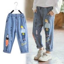 Джинсы для девочек детские весенние штаны с мультяшным принтом