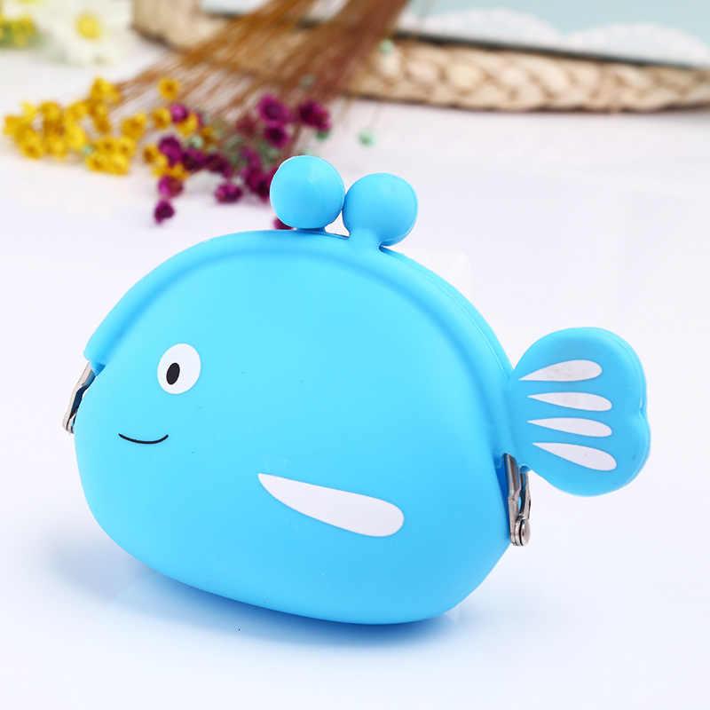 Fashion Dompet Koin Lucu Kawaii Kartun Ikan Hewan Kantong Wanita Kecil Dompet Lembut Silikon Bluetooth Earphone Tas Hadiah Anak