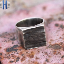 Original Handmade Silver Jewelry Art House Dark Punk Rectangle 925 Silver Ring Personality Ring цена