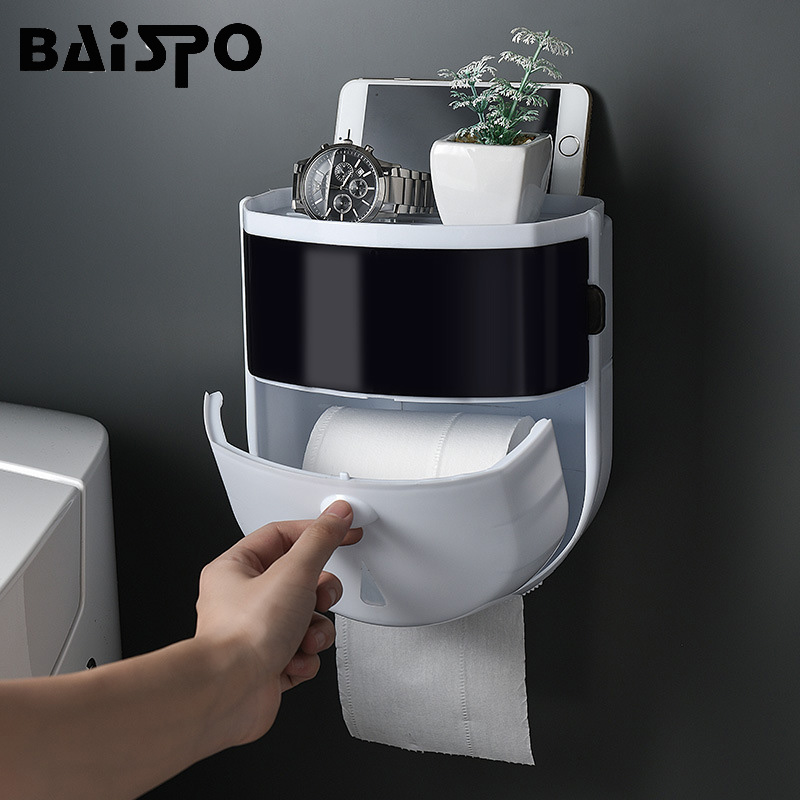BAISPO Portable Toilet Paper Holder Plastic Waterproof Tissue Box Wall-mounted Toilet Paper Dispenser Home Bathroom Storage Rack