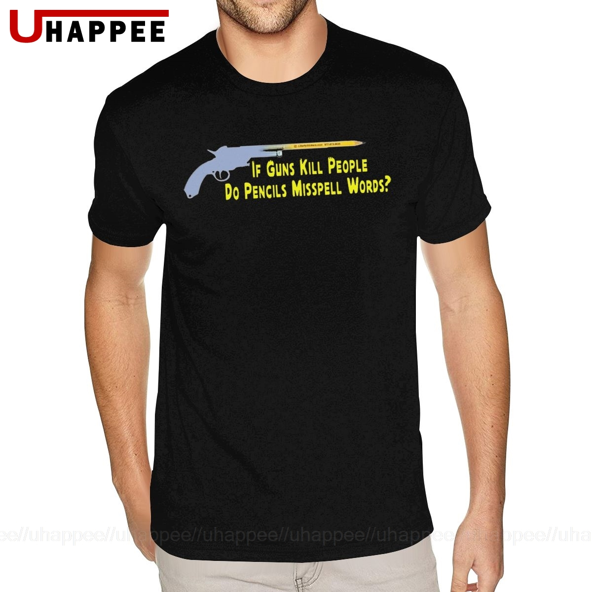 Fajne, jeśli pistolety zabijają ludzi, czy ołówki Miss Spell Words T-Shirt męskie 5XL krótki rękaw najwyższej jakości bawełna Crew t-shirty