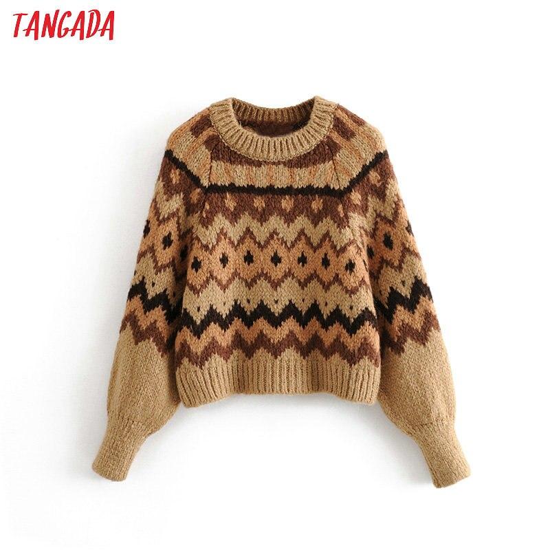 Tangada Women Geometric Pattern Vintage Jumper 2019 Winter Warm Long Sleeve Female Sweater Knitwear  3h191