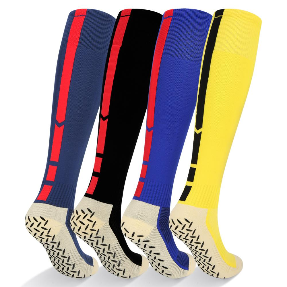 YUEDGE mens professional high-quality non-slip sports socks cotton knee high football