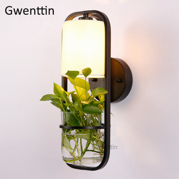 Modern DIY Plant Pot Glass Wall Lamp LED Sconce Nordic Wall Light Fixtures for Bedroom Bathroom Stairs Home Decor Luminaire E27