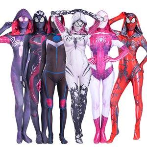 2020 The Amazing Spider Hero Cosplay Gwen Stacy Costume Spandex Zentai Mask Hoodie Spider Zentai Suit Anti-Gwenom for Women Girl(China)