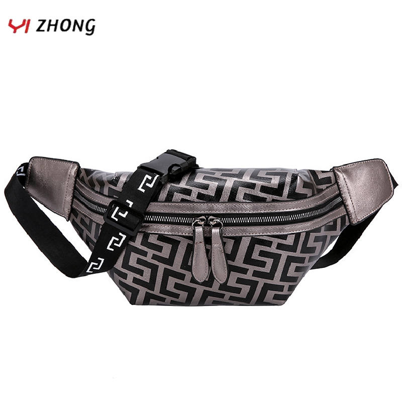 YIZHONG Soft Leather Waist Bag Fashion Chest Bag Large Capacity Fanny Pack For Women Geometric Pattern Travel Bag Phone Belt Bag
