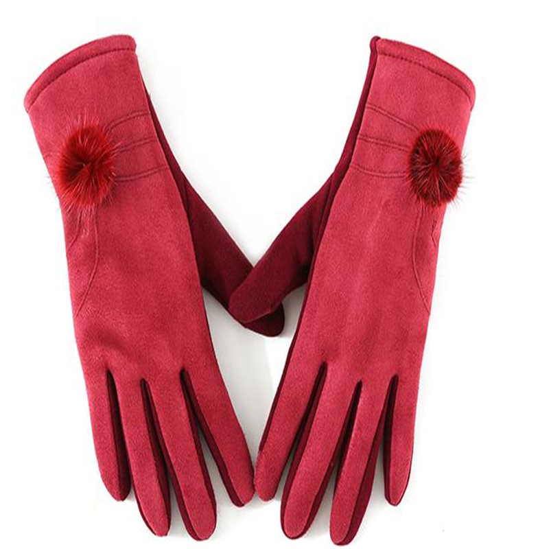 Winter New Ladies Fashion Faux Suede Touch Screen Saver Warm Gloves Han Edition Hair Bulb Decorative Wind Cycling Gloves  ST-032