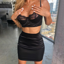 WannaThis Sexy Satin Lace 2 Pieces Sets Women Black Crop Top and Mini Skirt Skinny Patchwork Female Fashion Silk Party