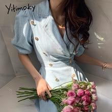 Yitimoky vintage mulher vestido puff manga lantejoulas duplo breasted 2021 verão coreano novo turn-down colarinho sólido denim vestidos