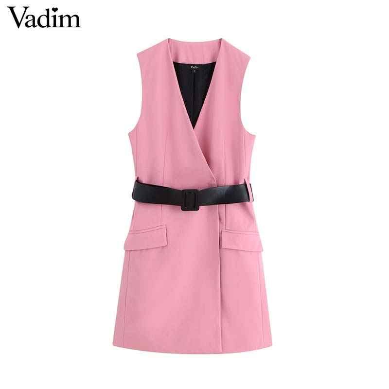 Vadim נשים אלגנטי משרד ללבוש שמלת V צוואר חגורת עיצוב שרוולים כיסים נשי אופנה שיק ורוד מיני שמלות vestidos QC652