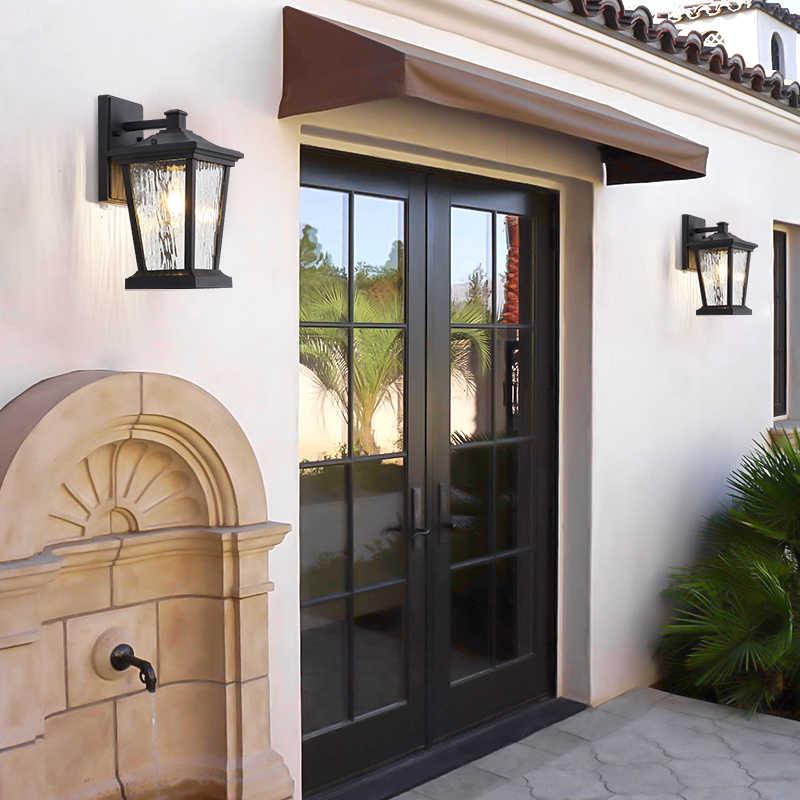 الرجعية في الهواء الطلق الجدار ضوء الألومنيوم الجدار الشمعدان أضواء المنزلية الزجاج المدخل الإضاءة E27 حامل فانوس مقاوم للماء فيلا مصباح