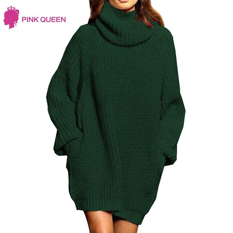 Женские зимние свитера, свободные, большие размеры, водолазка, шерсть, длинный пуловер, свитер, платье с карманами, однотонные топы, мешковат