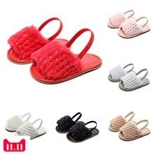 Мягкие сандалии из флока с блестками для маленьких девочек; Повседневная обувь; Новинка года; Прямая поставка