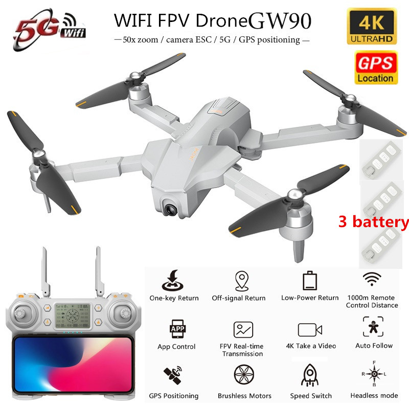 GPS 5G Professional WiFi FPV RC Drone 5G 1KM 4K ESC Camera Optical Flow GPS Positon Hover Remote Control Drone RC Quadcopter RTF