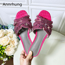 Sexy Jeweled Crystal Flip Flops Candy Color Stone Grain Genuine Leather Flat Slippers Women Rhinestone Summer Shoes Woman