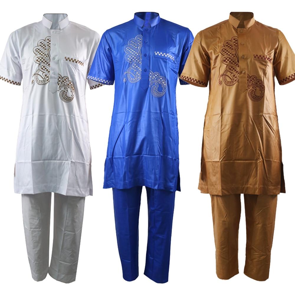 Indonesia Clothing Muslim Suit Wear Arabia Embroidery Muslim Costumes Pakistan Kurta Men Kaftan Islamic Clothing Men 2 Piece Set