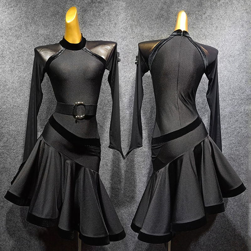 Sexy Latin Dress Women'S Long Sleeve Dress Autumn And Winter Salsa Dance Clothing Performance Dancewear Party Dance Dress 1307