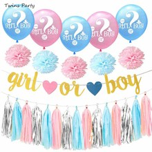 Twins Party Baby Gender Reveal He or She? Balloon Boy Girl Banner Confetti Foil Bunting Events Supplies