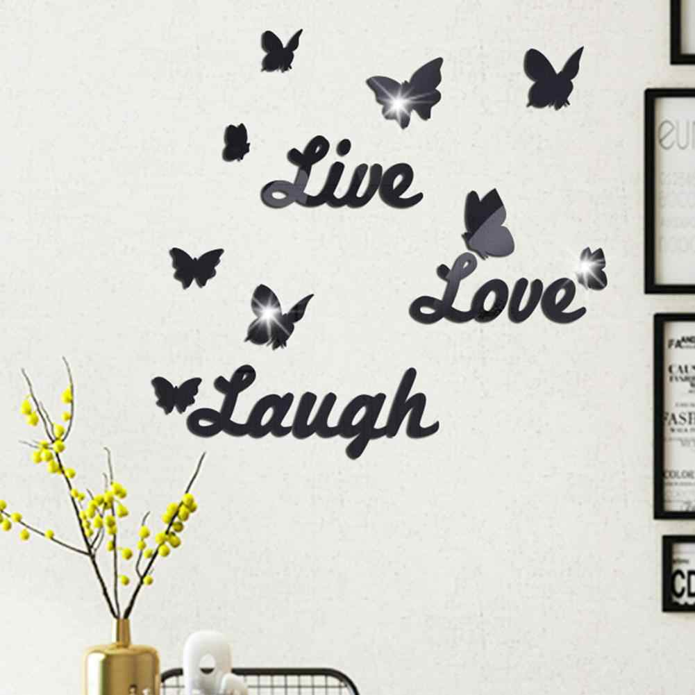 Fashion Self Adhesive 3d Mirror Wall Sticker Live Love Laugh Letter Butterfly Sticker Room Decoration Art Wall Decals Home Decor Aliexpress