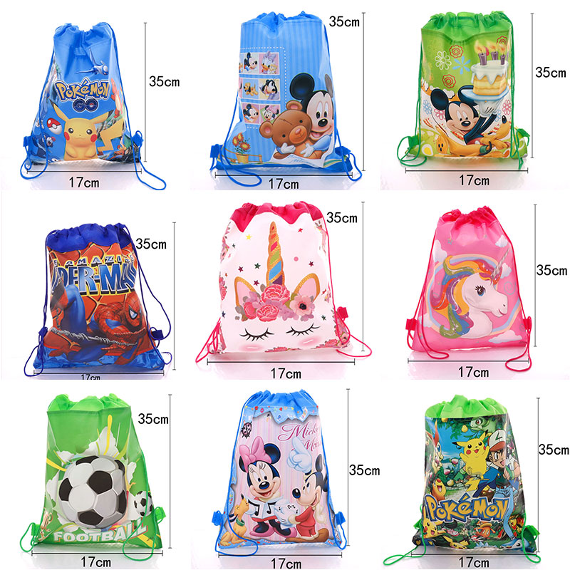 New Children's Schoolbag Storage Bag Mickey Minnie Pikachu Spider-Man Football Unicorn And Other Storage Bags Are Available