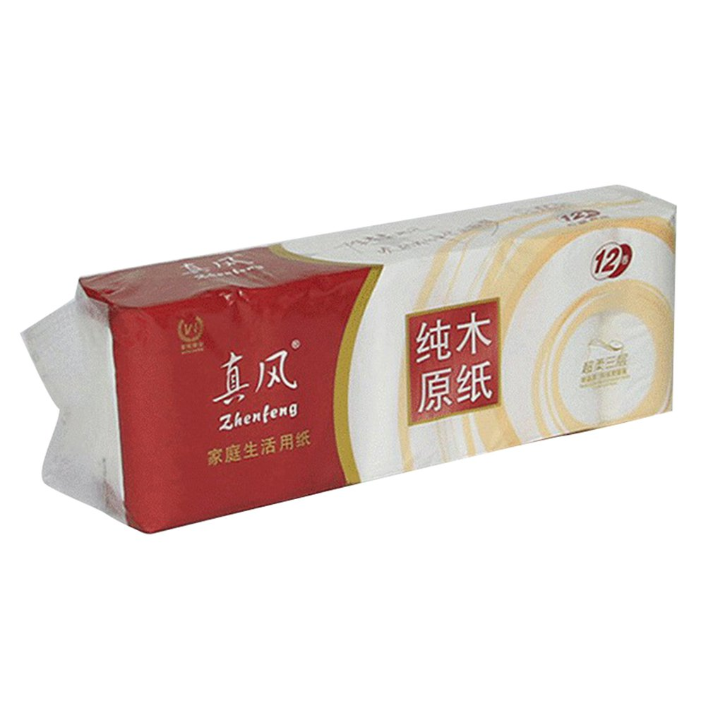 Household Paper Roll Original Wood Pulp Fine And Soft Without Fluorescent Agent Water Absorption Is Stronger 12 Pcs