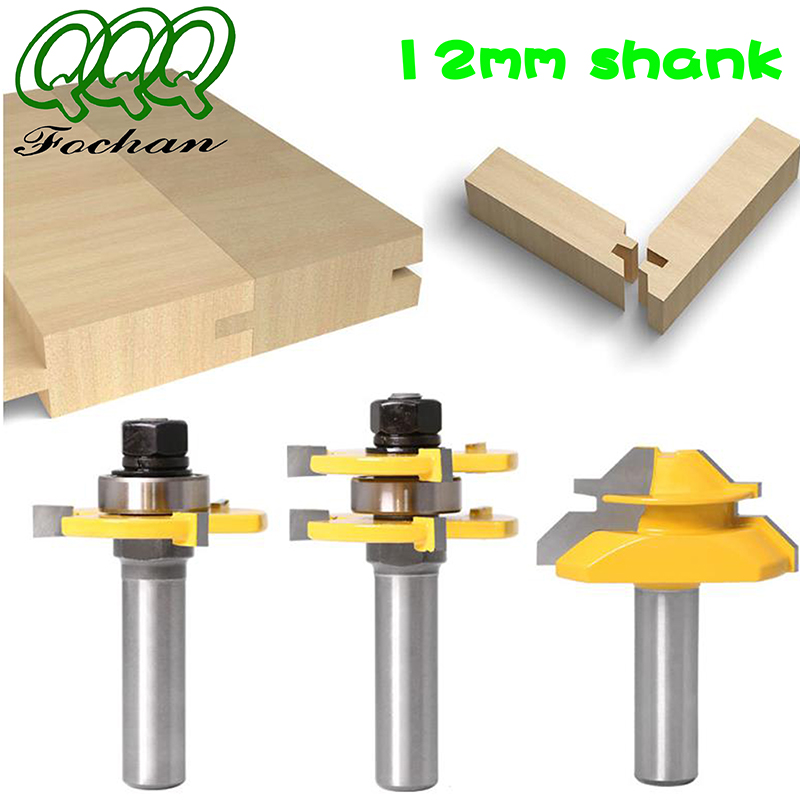 QQQ 3pc 12,,Shank high quality Tongue & Groove Joint Assembly Router Bit 1Pc 45 Degree Lock Miter Route Set Stock Wood Cutting