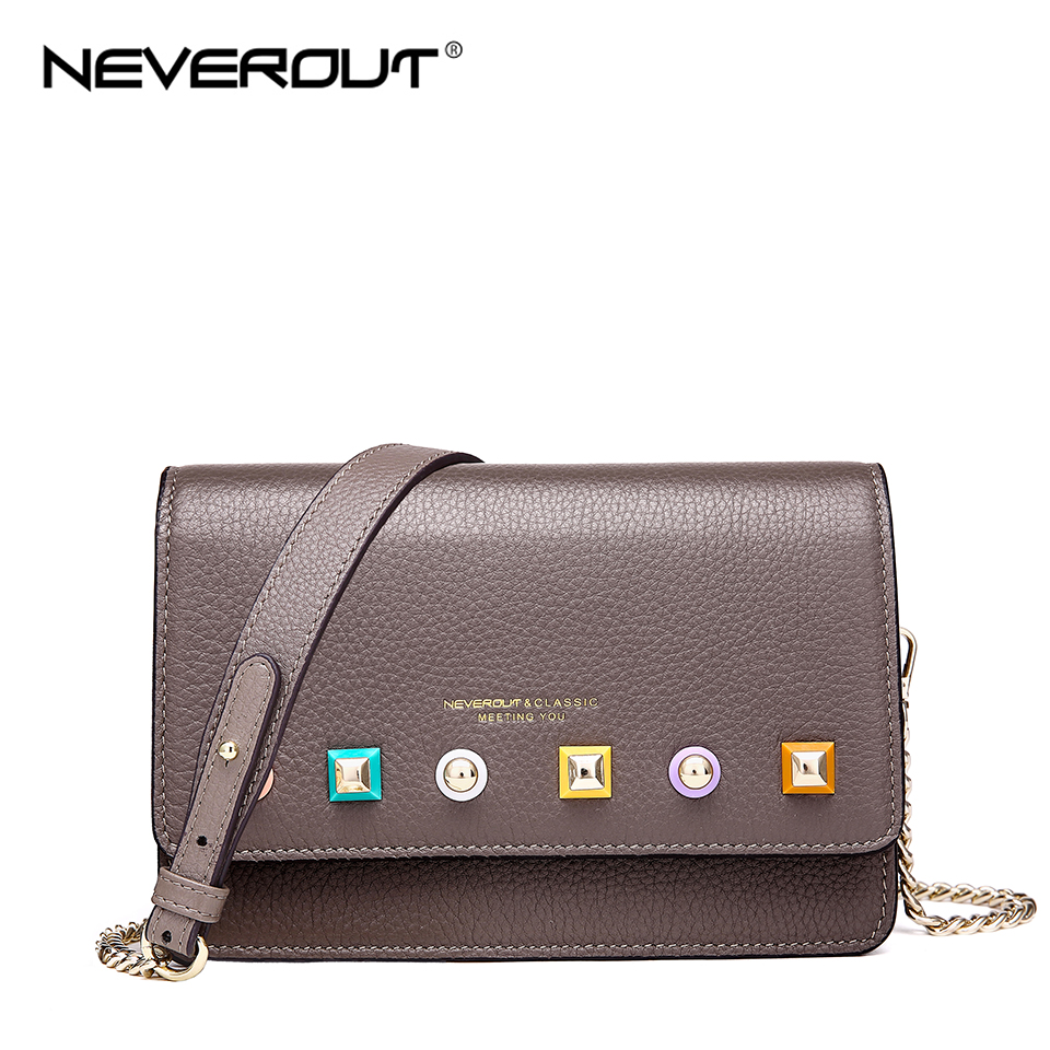 NEVEROUT Genuine Leather Bag Soft Leather Ladies Fashion Messenger Bag Small Flap Shoulder Sac Solid High