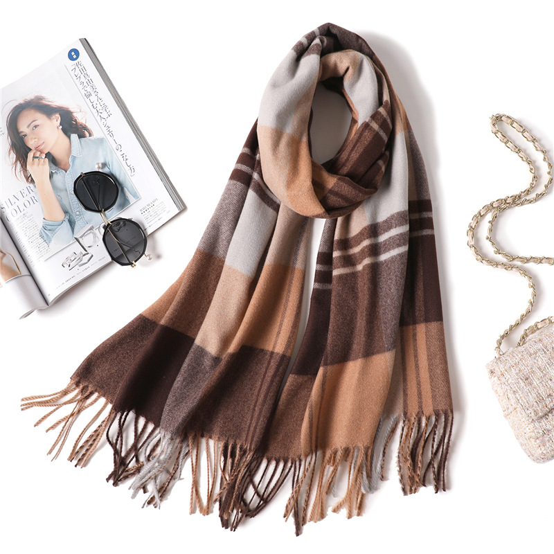Luxury Women Plaid Scarf Brand Cashmere Winter Shawls Wraps Soft Tassel Pashmina Scarves for Ladies Fashion Lattice Bandana in Women 39 s Scarves from Apparel Accessories