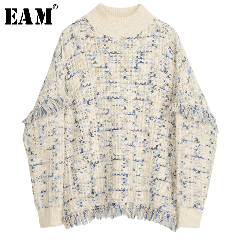 [EAM] Tassels Big Size Knitting Sweater Loose Fit Round Neck Long Sleeve Women Pullovers New Fashion  Autumn Winter 2020 1M056