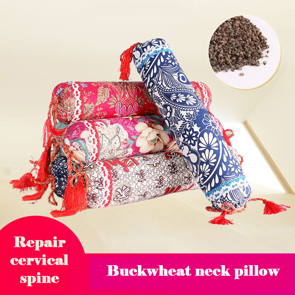 Cervical Pillow Candy Round Neck Pillow Repair Cervical Spine Cotton Old Coarse Cloth Buckwheat Pillow Home Textile Products