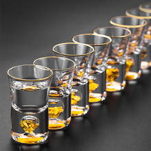 24K из золотой фольги Кристальный спиртные напитки, стеклянный бар высокого качества золотой Саке водки небольшие снимки Винные бокалы, чашка vook De Cristal