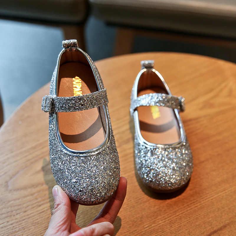 2020 אביב בנות נעלי בלינג נעלי חתונה לילדים דירות כסף Pricess נעלי פעוטות בנות דירות אנטי חלקלק ילד 1-6y