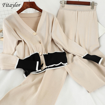 Fitaylor New Women Two Piece Set V-neck Color Matching Single Breasted Cardigan Solid Loose Wide Leg Pants Knitting Female Suit 1