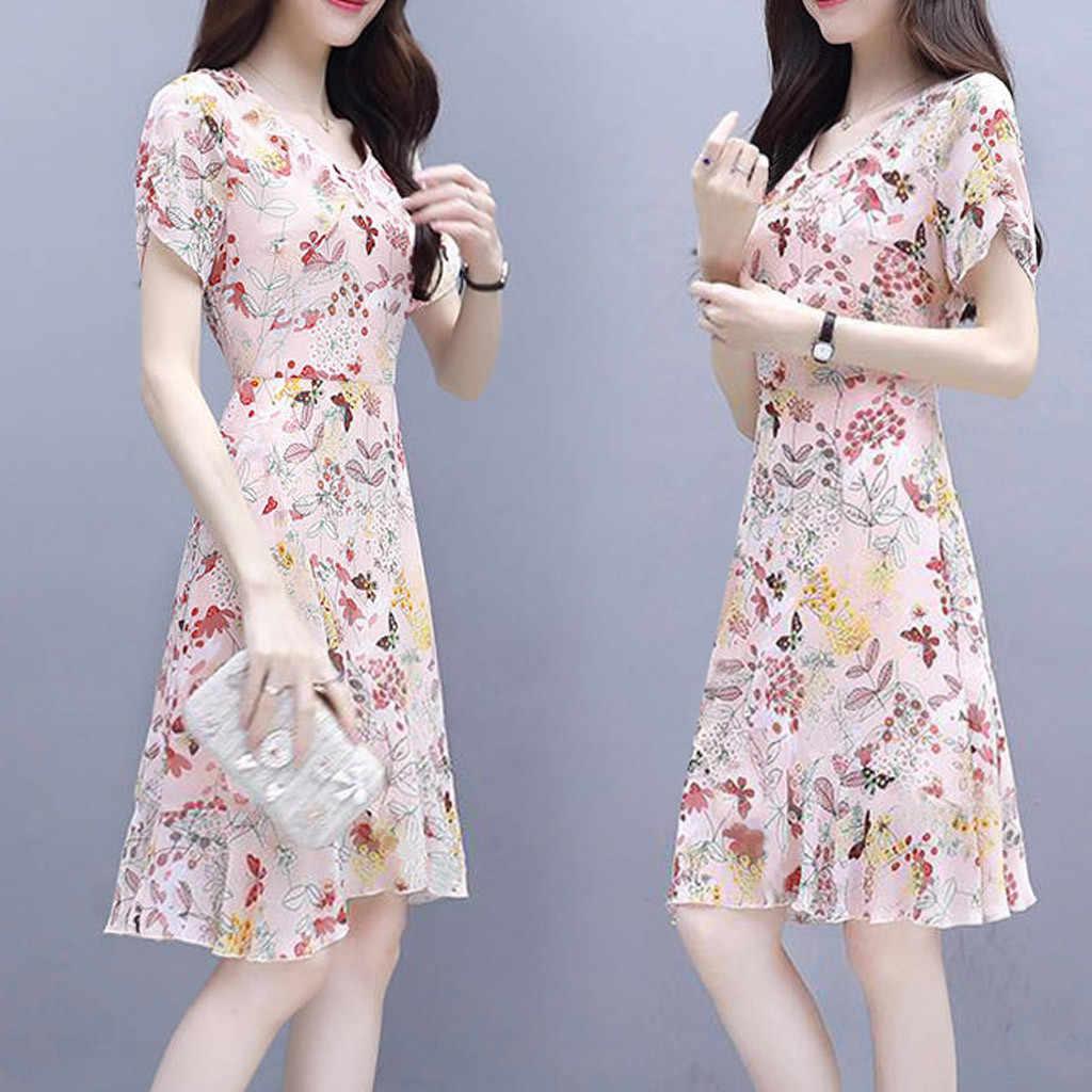 Dicetak Gaun Fashion Kasual Wanita O-Leher Lengan Pendek Gaun Vintage Gaun Kasual Musim Panas Gaun # Y40