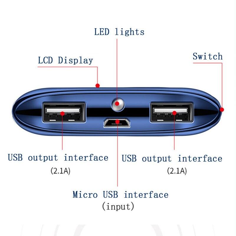 Для Xiaomi MI iphone 7 8 XR 11 30000mah внешний аккумулятор повербанк 2 USB LED портативное зарядное устройство для мобильного телефона