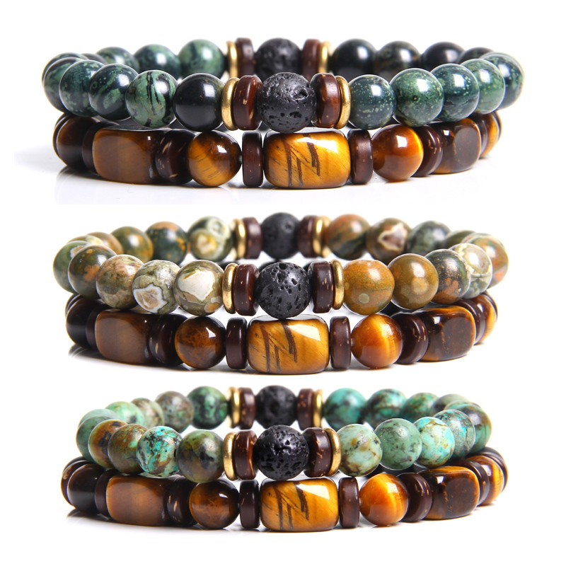 Couples Bracelet Men Natural Stone Black Lava 8mm Tiger eye Beads Charm Bracelet For Male Yoga Handmade Jewelry Homme Bijoux