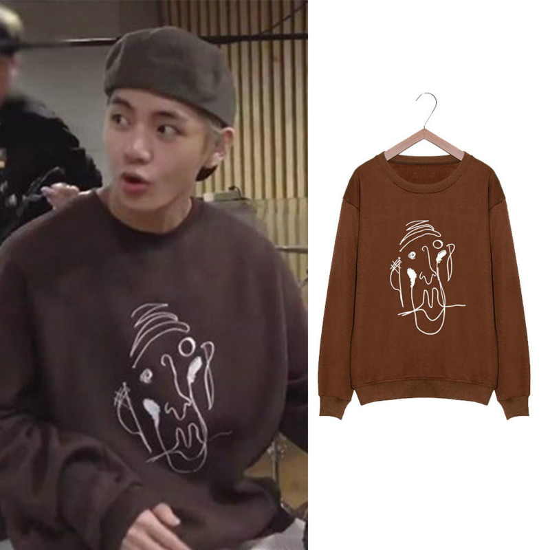 Kpop Bangtan Boys Kim Tae Hyung Same Long Sleeve Round Neck Pullover Hoodie Loose Men and Women Spring and Autumn