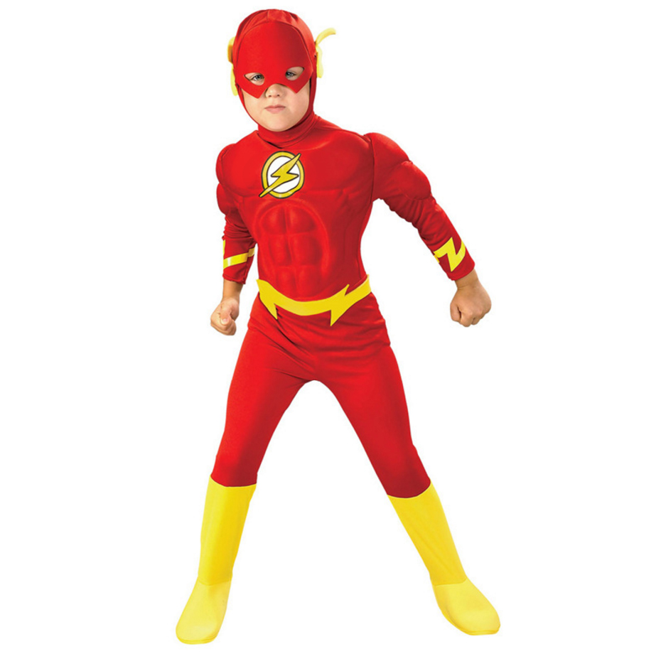 Boy The Flash Muscle Superhero Suit Carnival Party Fancy Dress Fantasia Comics Movie Halloween Cosplay Costumes