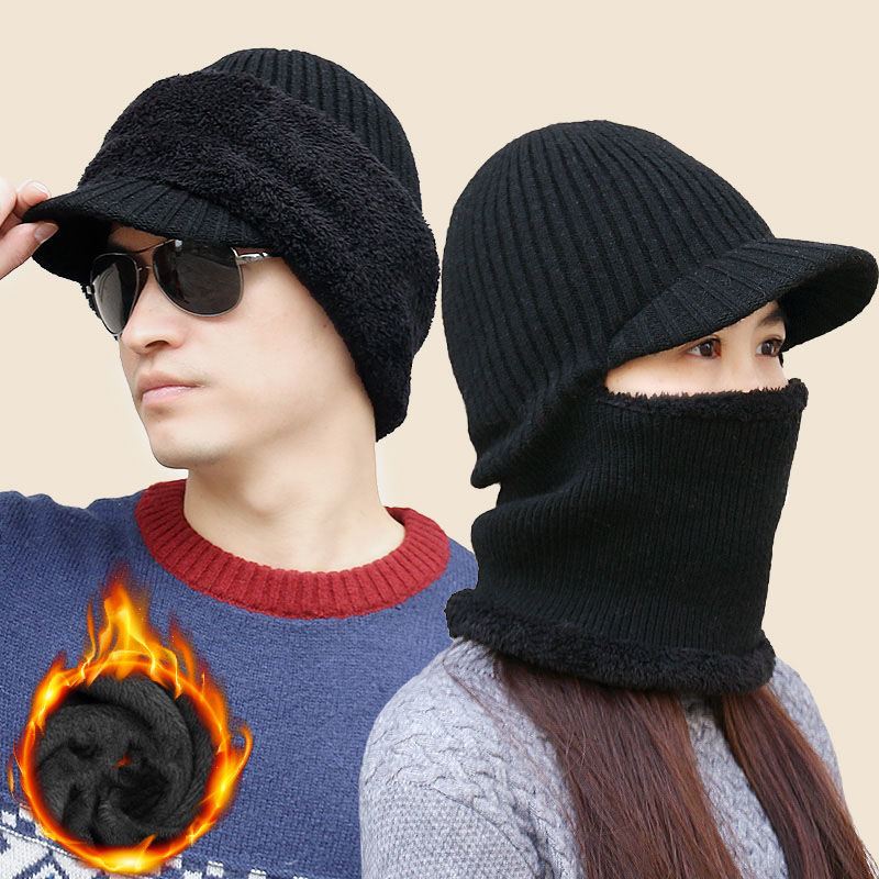 H0910a4ea9d6940caa90d56396dfa93a1F - new winter fashion wool hat warm knit hat outdoor men and women cold protection cap