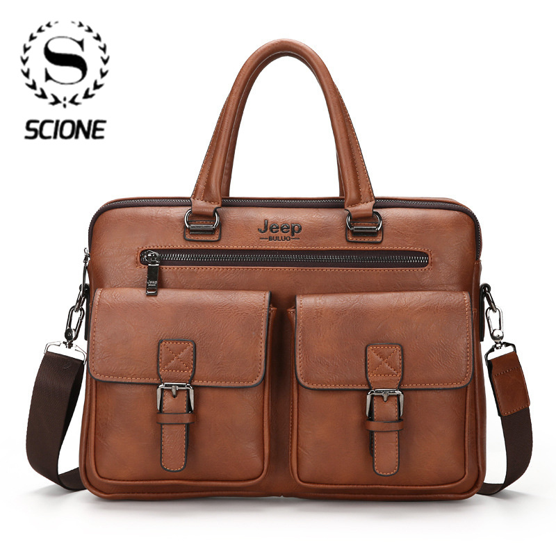Scione Men Business Bag For 15 Inch Laptop Briefcase Bags 2 In 1 Set Handbags High Quality Leather Office Bags Totes Male